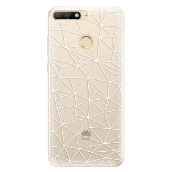 Silikonové pouzdro iSaprio - Abstract Triangles 03 - white - Huawei Y6 Prime 2018
