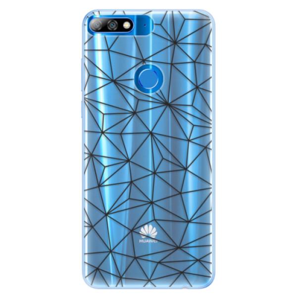 Silikonové pouzdro iSaprio - Abstract Triangles 03 - black - Huawei Y7 Prime 2018