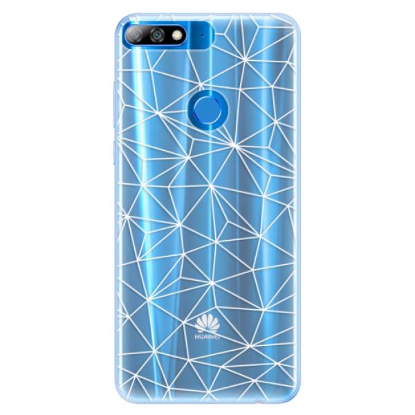 Silikonové pouzdro iSaprio - Abstract Triangles 03 - white - Huawei Y7 Prime 2018