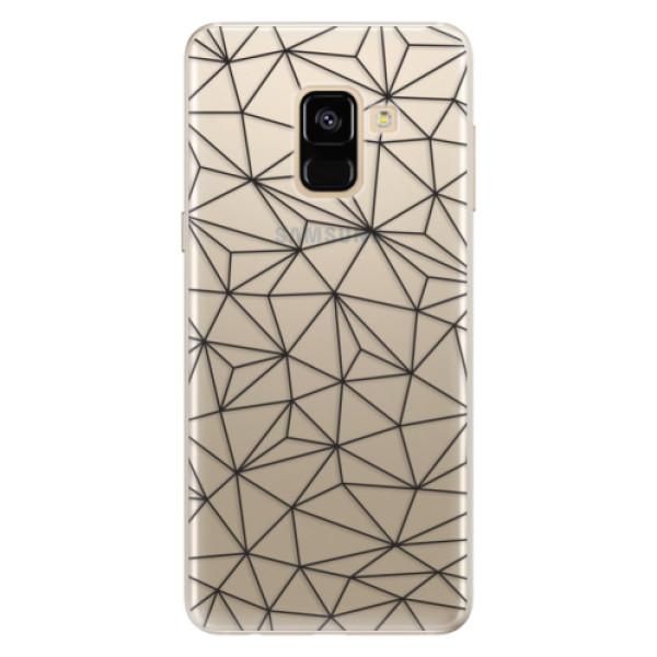 Silikonové pouzdro iSaprio - Abstract Triangles 03 - black - Samsung Galaxy A8 2018