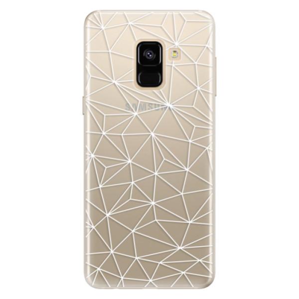 Silikonové pouzdro iSaprio - Abstract Triangles 03 - white - Samsung Galaxy A8 2018
