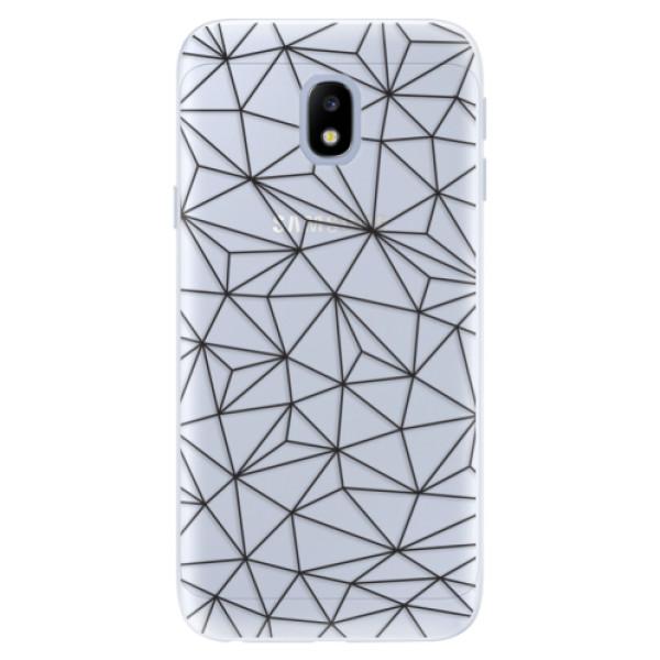 Silikonové pouzdro iSaprio - Abstract Triangles 03 - black - Samsung Galaxy J3 2017