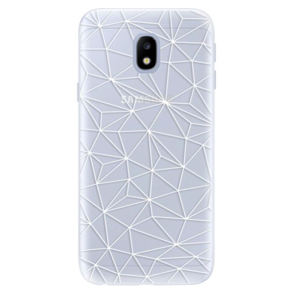 Silikonové pouzdro iSaprio - Abstract Triangles 03 - white - Samsung Galaxy J3 2017