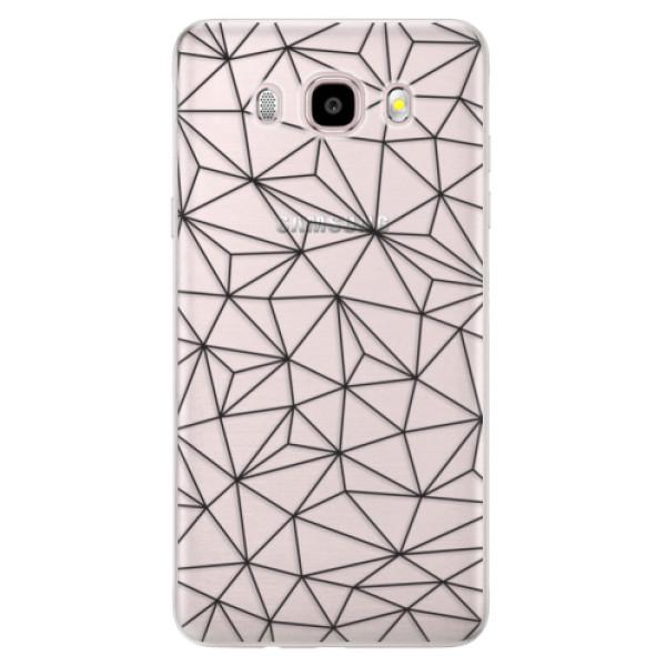 Silikonové pouzdro iSaprio - Abstract Triangles 03 - black - Samsung Galaxy J5 2016