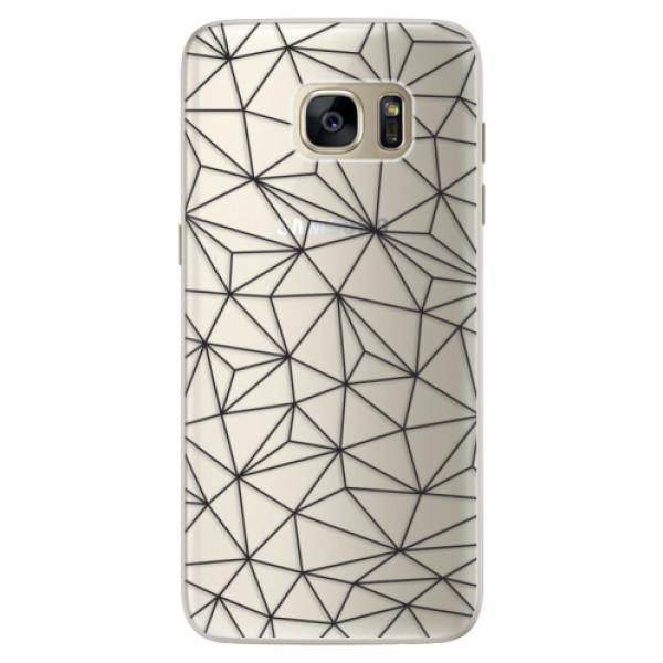 Silikonové pouzdro iSaprio - Abstract Triangles 03 - black - Samsung Galaxy S7