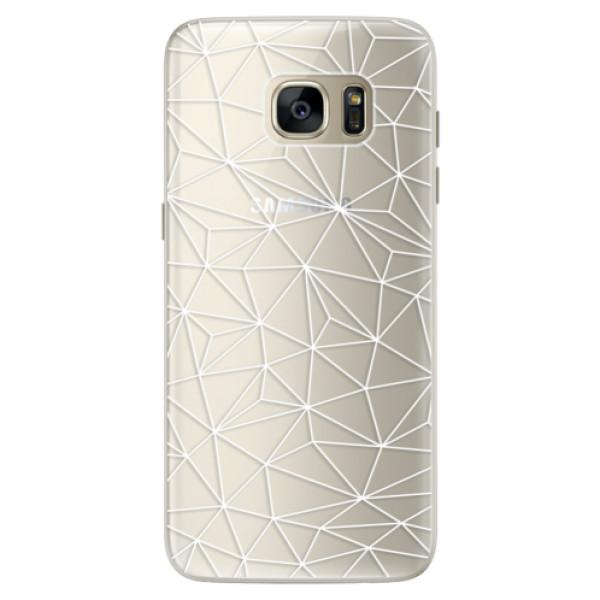 Silikonové pouzdro iSaprio - Abstract Triangles 03 - white - Samsung Galaxy S7