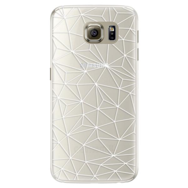 Silikonové pouzdro iSaprio - Abstract Triangles 03 - white - Samsung Galaxy S6 Edge