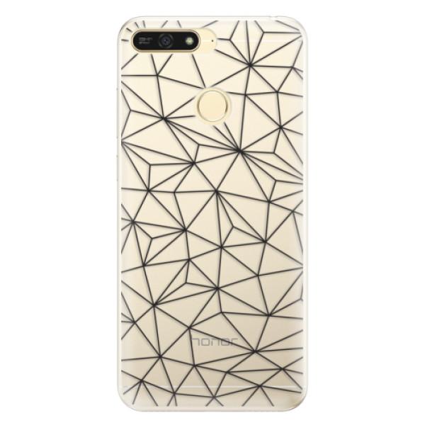 Silikonové pouzdro iSaprio - Abstract Triangles 03 - black - Huawei Honor 7A