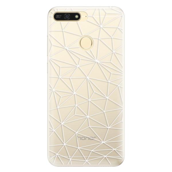 Silikonové pouzdro iSaprio - Abstract Triangles 03 - white - Huawei Honor 7A
