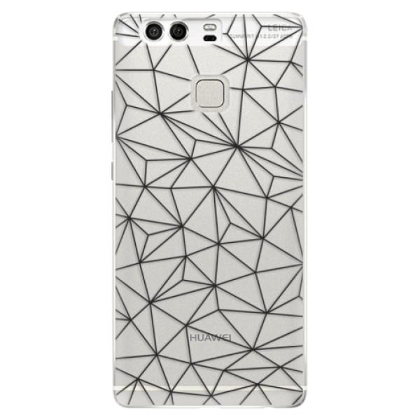 Silikonové pouzdro iSaprio - Abstract Triangles 03 - black - Huawei P9