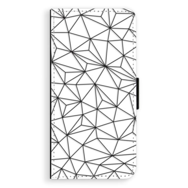 Flipové pouzdro iSaprio - Abstract Triangles 03 - black - Samsung Galaxy J6