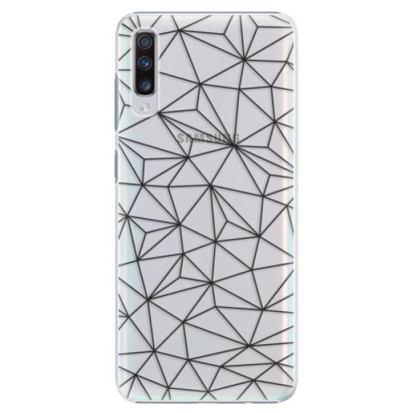 Plastové pouzdro iSaprio - Abstract Triangles 03 - black - Samsung Galaxy A70