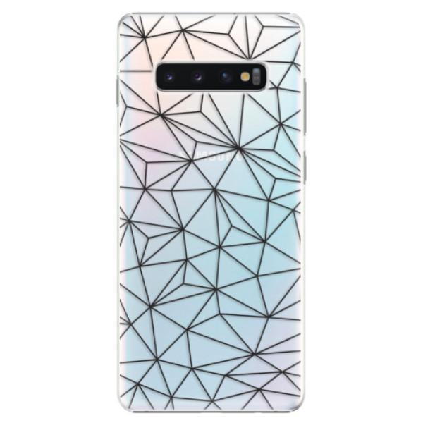 Plastové pouzdro iSaprio - Abstract Triangles 03 - black - Samsung Galaxy S10+