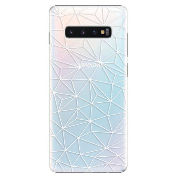 Plastové pouzdro iSaprio - Abstract Triangles 03 - white - Samsung Galaxy S10+