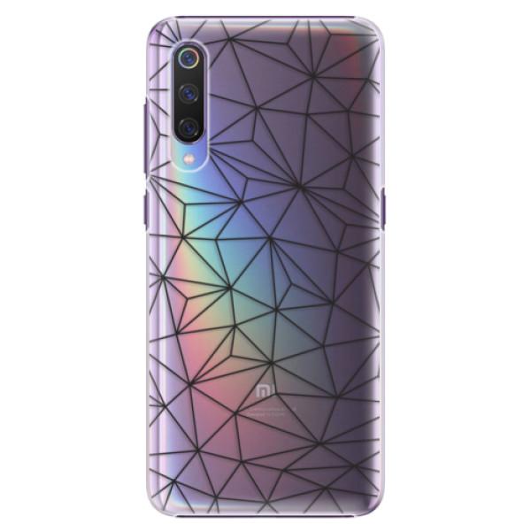 Plastové pouzdro iSaprio - Abstract Triangles 03 - black - Xiaomi Mi 9