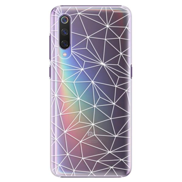 Plastové pouzdro iSaprio - Abstract Triangles 03 - white - Xiaomi Mi 9