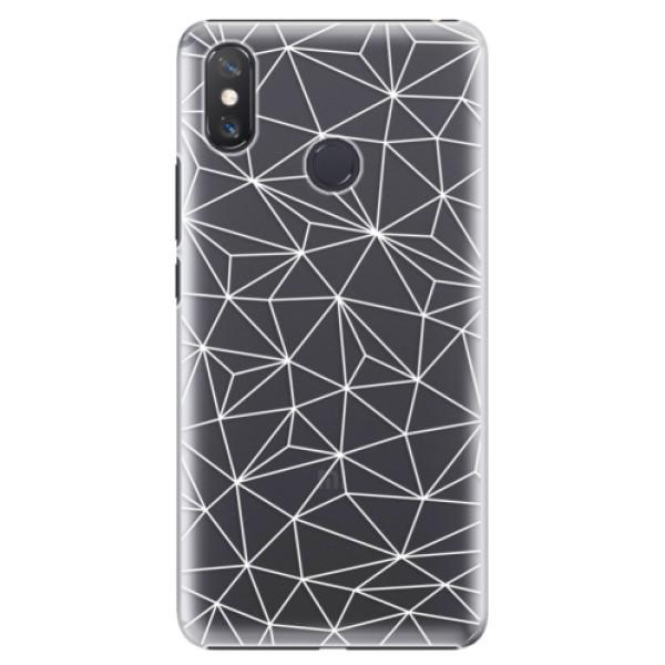 Plastové pouzdro iSaprio - Abstract Triangles 03 - white - Xiaomi Mi Max 3