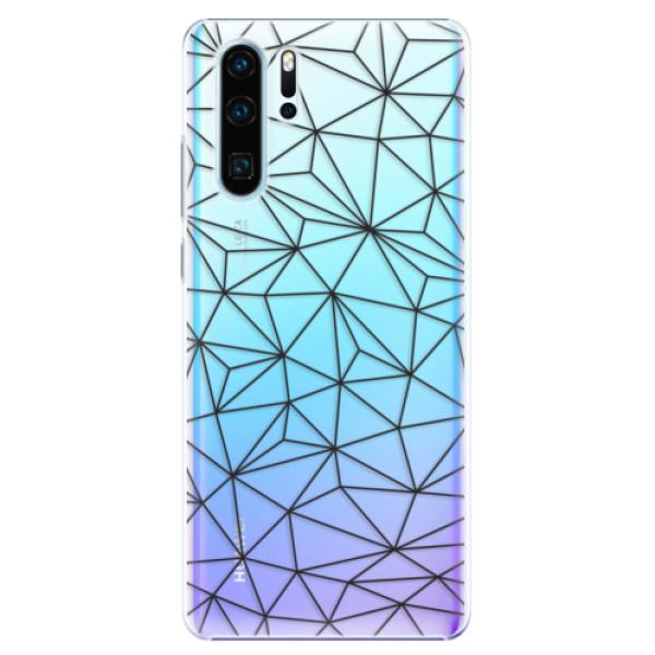 Plastové pouzdro iSaprio - Abstract Triangles 03 - black - Huawei P30 Pro