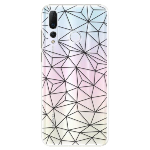 Plastové pouzdro iSaprio - Abstract Triangles 03 - black - Huawei Nova 4