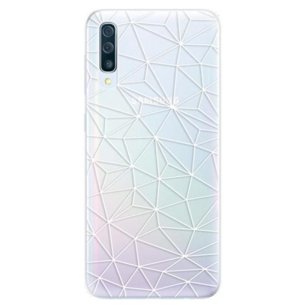 Silikonové pouzdro iSaprio - Abstract Triangles 03 - white - Samsung Galaxy A50