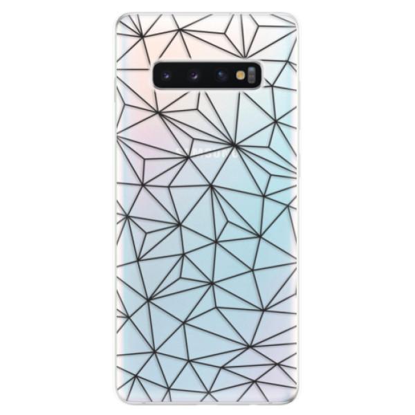 Odolné silikonové pouzdro iSaprio - Abstract Triangles 03 - black - Samsung Galaxy S10+