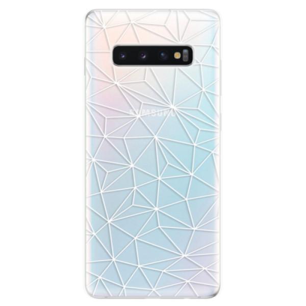 Odolné silikonové pouzdro iSaprio - Abstract Triangles 03 - white - Samsung Galaxy S10+