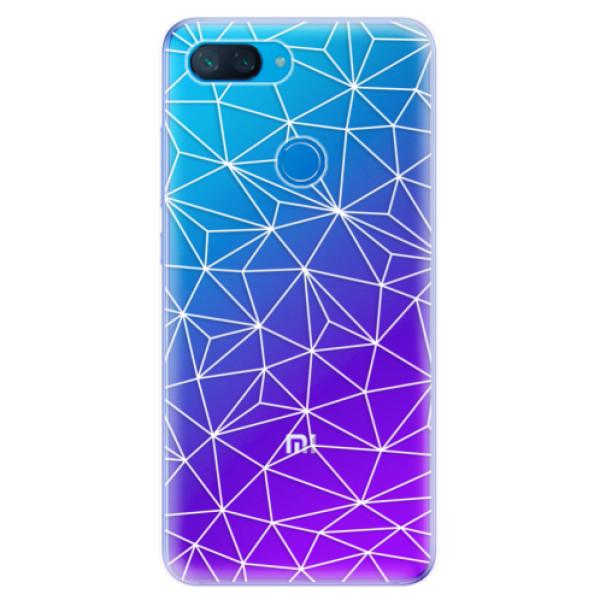 Odolné silikonové pouzdro iSaprio - Abstract Triangles 03 - white - Xiaomi Mi 8 Lite