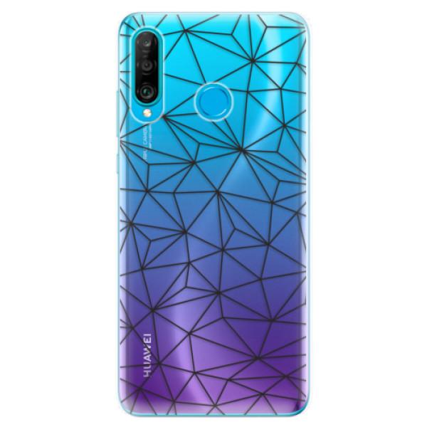 Odolné silikonové pouzdro iSaprio - Abstract Triangles 03 - black - Huawei P30 Lite