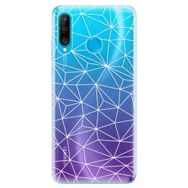 Odolné silikonové pouzdro iSaprio - Abstract Triangles 03 - white - Huawei P30 Lite