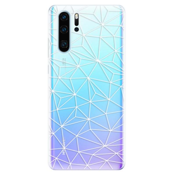 Odolné silikonové pouzdro iSaprio - Abstract Triangles 03 - white - Huawei P30 Pro