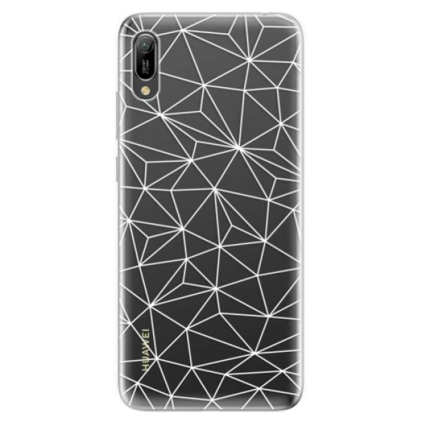 Odolné silikonové pouzdro iSaprio - Abstract Triangles 03 - white - Huawei Y6 2019