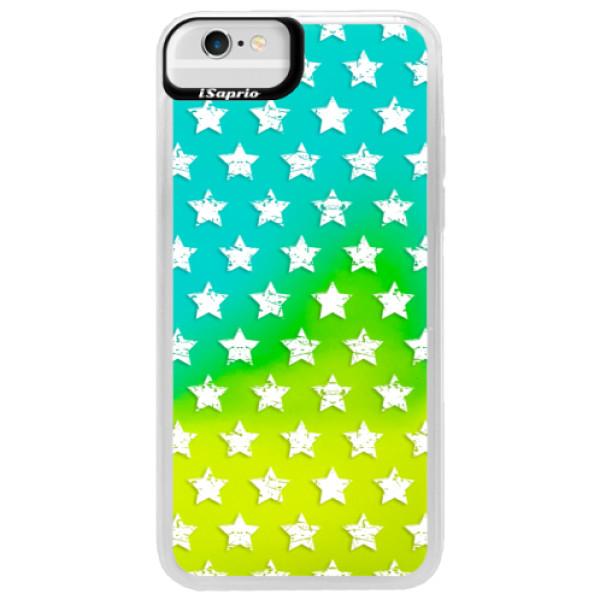 Neonové pouzdro Blue iSaprio - Stars Pattern - white - iPhone 6/6S