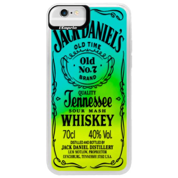 Neonové pouzdro Blue iSaprio - Transparent Black Jack - iPhone 6/6S