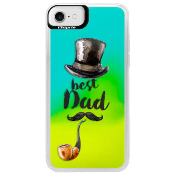 Neonové pouzdro Blue iSaprio - Best Dad - iPhone 7