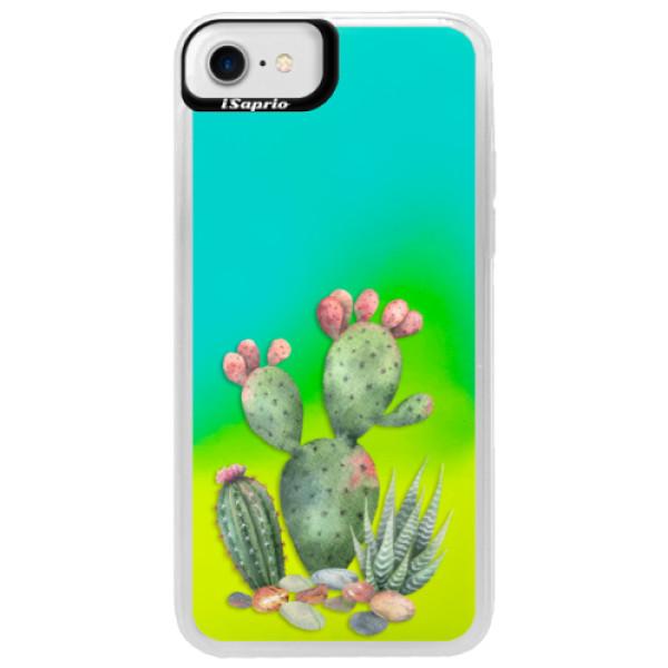 Neonové pouzdro Blue iSaprio - Cacti 01 - iPhone 7