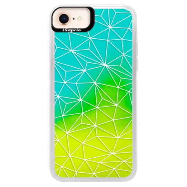 Neonové pouzdro Blue iSaprio - Abstract Triangles 03 - white - iPhone 8