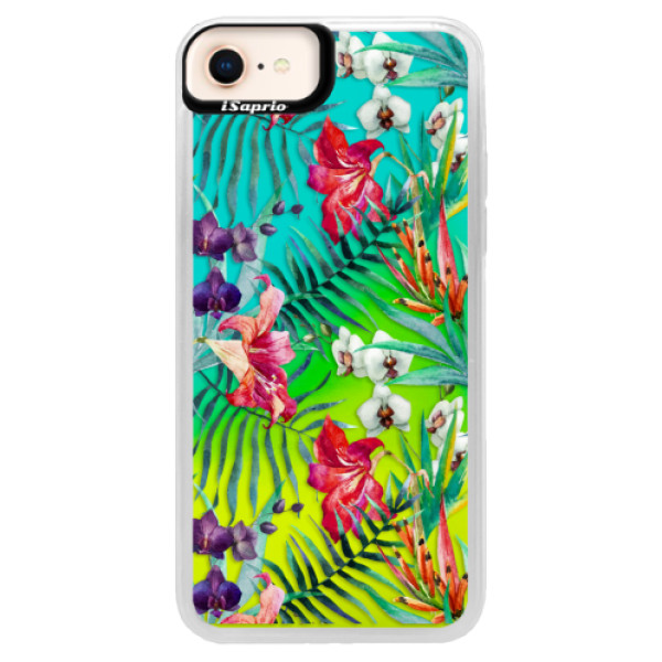 Neonové pouzdro Blue iSaprio - Flower Pattern 03 - iPhone 8