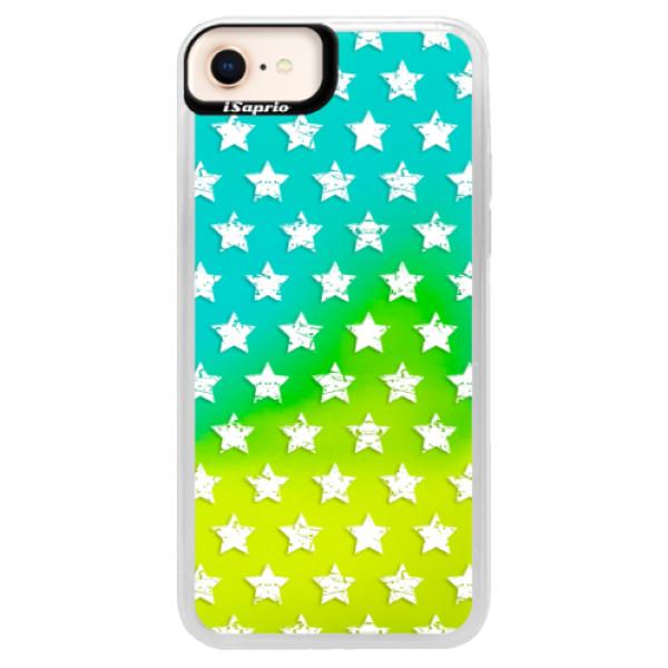 Neonové pouzdro Blue iSaprio - Stars Pattern - white - iPhone 8