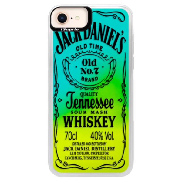 Neonové pouzdro Blue iSaprio - Transparent Black Jack - iPhone 8