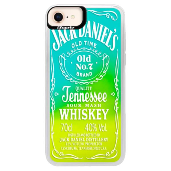 Neonové pouzdro Blue iSaprio - Transparent White Jack - iPhone 8