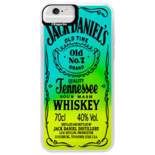 Neonové pouzdro Blue iSaprio - Transparent Black Jack - iPhone 6 Plus/6S Plus