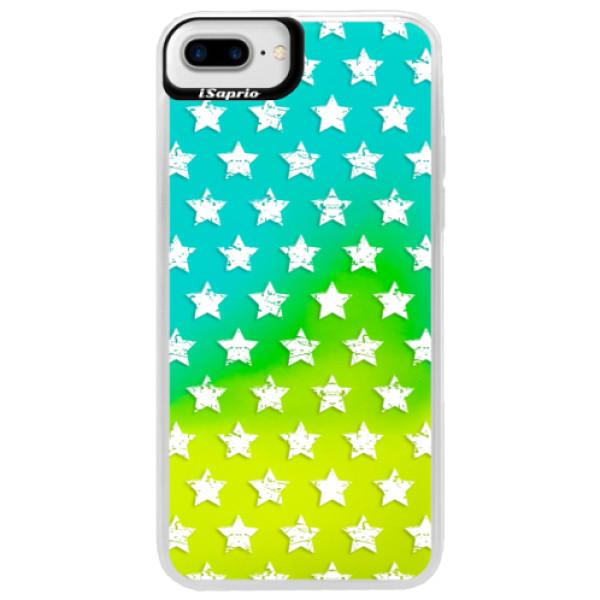 Neonové pouzdro Blue iSaprio - Stars Pattern - white - iPhone 7 Plus