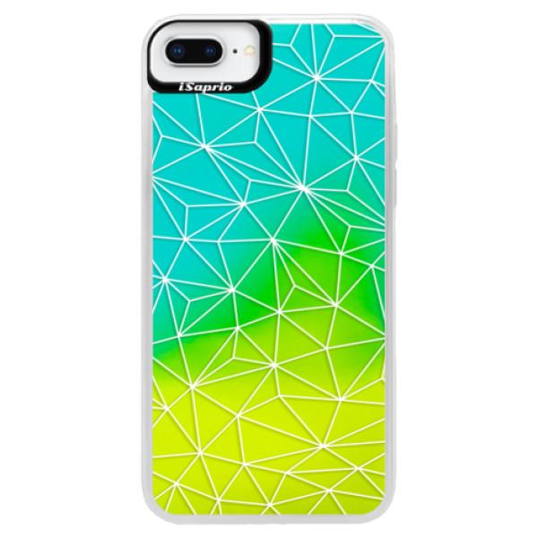 Neonové pouzdro Blue iSaprio - Abstract Triangles 03 - white - iPhone 8 Plus