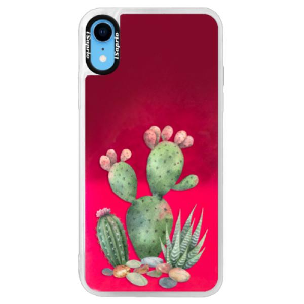 Neonové pouzdro Pink iSaprio - Cacti 01 - iPhone XR