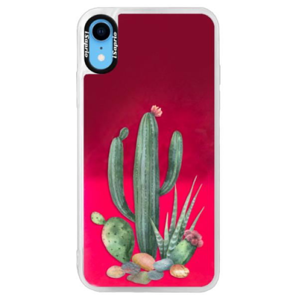 Neonové pouzdro Pink iSaprio - Cacti 02 - iPhone XR