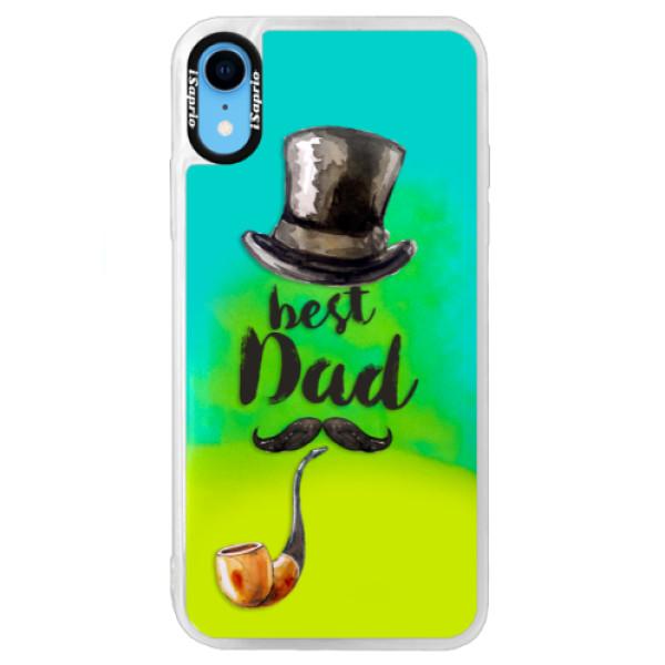 Neonové pouzdro Blue iSaprio - Best Dad - iPhone XR