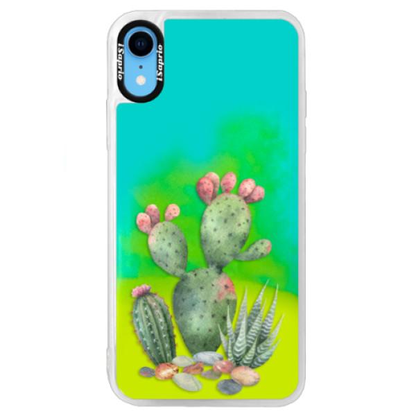 Neonové pouzdro Blue iSaprio - Cacti 01 - iPhone XR