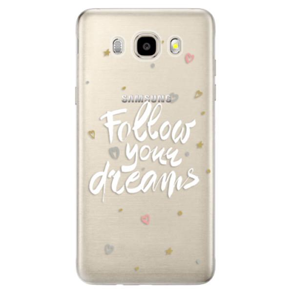 Odolné silikonové pouzdro iSaprio - Follow Your Dreams - white na mobil Samsung Galaxy J5 2016 (Odolný silikonový obal, kryt pouzdro iSaprio - Follow Your Dreams - white - na mobilní telefon Samsung Galaxy J5 2016)