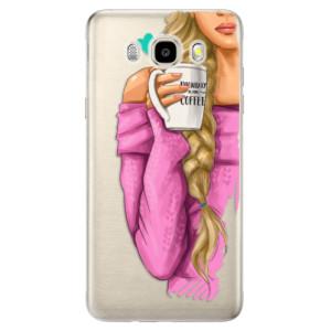 Odolné silikonové pouzdro iSaprio - My Coffe and Blond Girl na mobil Samsung Galaxy J5 2016