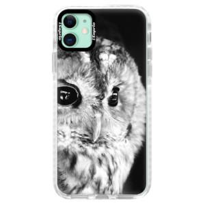 Silikonové pouzdro Bumper iSaprio - BW Owl na mobil Apple iPhone 11